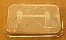 1oz Pure Silver 999  Bar -LONDON - TOWER BRIDGE NEW 2015