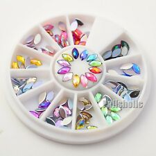120pcs/Wheel Holographic Rhombus Nail Art Studs 3D Nail Decoration Craft for DIY