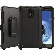 For Samsung Galaxy Note 3 Case + Clip (Clip Fits Otterbox Defender) Armor Black