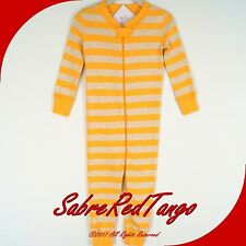 NWT HANNA ANDERSSON ORGANIC BABY SLEEPER ZIPPER YELLOW OAT STRIPE 85 2T 2