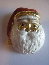 """Vintage Sparkling Santa Claus Pin, Brooch, Unmarked, As Is, 2"""""""