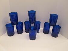 Lot 10 COBALT BLUE Pinched & Swirl Design Diff Heights Ice Teas Glasses Blenko