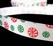 "5 Yd Christmas Peppermint Spearmint Candies Grosgrain Ribbon 7/8""W"