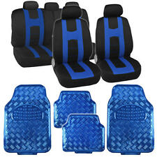Black Blue Two Tone Seat Covers & Heavy Duty Blue Vinyl Floor Mats Full Set 13pc