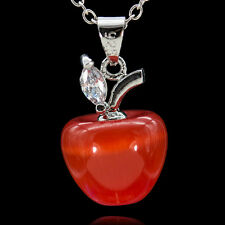 925 Silver Opal Cat Eye gemstone Red Apple Necklace Pendant Xmas Gift
