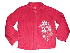 Esprit tolle Strick Jacke Gr. 116 / 122 rot mit Blumenstickerei !!
