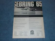 "1965 MG Austin-Healey Vintage Ad ""Sebring 65"" 12-Hours of Sebring"