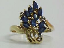 Solid 10KT Fine Yellow Gold Cocktail Ring Sapphire And Diamonds Size 6
