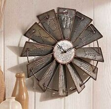Rustic Metal Emmbossed Windmill Wall Clock Over 1 Foot Round! NEW
