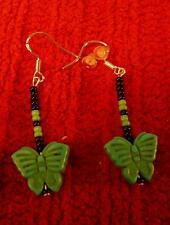 Native American Indian - Turquoise Butterfly Beaded Sterling Silver Earrings