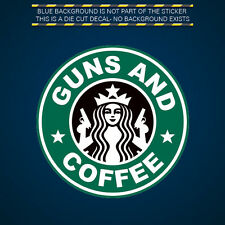 Guns and Coffee Sticker Decal Self Adhesive Vinyl 2A molon labe gun rights