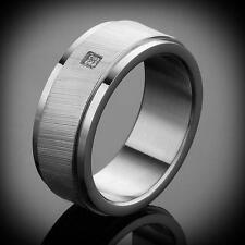 New Struttura Men's Crystal Studded St Steel Etched Ring Size-11