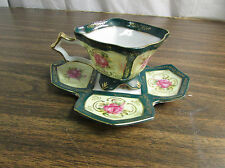 Vintage Royal Sealy Footed Square Teacup Paneled Pink Rose Tea Cup & Saucer