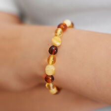 Genuine Natural Baltic Amber Bracelet Brown White Beads Adjustable Rubber String