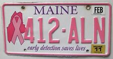 Maine 2011 BREAST CANCER EARLY DETECTION SAVES LIVES License Plate # 412-ALN