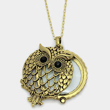 Owl Necklace Magnifying Glass Charm ANTIQUE GOLD Long Luck Strength Antique