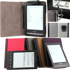 GREY BLACK LEATHER CASE COVER WITH RECHARGEABLE LIGHT FOR SONY PRS T1 T2 + SP