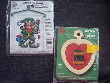 2 VTG Cross Stitch Kit Elf Drum Stitch N Hang Frame Mini Needle Magic Craft