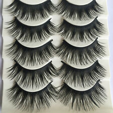HOT Makeup 5Pairs Natural Long Fake Eye Handmade Thick False Eyelashes Black