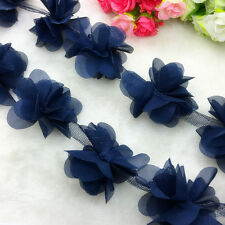 New Hot 1 Yard Navy Blue Flower Chiffon Wedding Dress Bridal Fabric Lace Trim