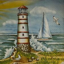 4 X SINGLE PAPER NAPKINS PARTY TABLE- SHIP  TOWER - DECOUPAGE  CRAFT-31