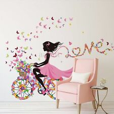 Flower & Girl Removable Wall Sticker Vinyl Decal DIY Room Home Mural Decor US