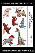 Fabric Sew Pattern McCall #1218 Stuffed Animal Toys Lamb Giraffe Zebra Bear Dog