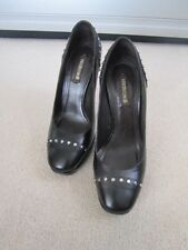 Roberto Cavalli Black leather platform heels with studs sz 38/UK 5