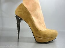 MORI ITALY PLATFORM HIGH HEEL PUMPS SCHUHE SHOES SUEDE LEATHER BROWN MARRONE 40