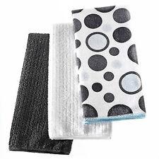3 PC Noir / Gris Dots microfibre torchons multi couleur plat toile serviette propre