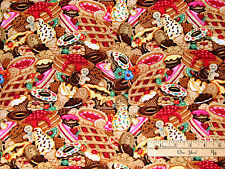 Multi Sweets Doughnut Gingerbread Cup Cake Pie Sweet Tooth Fabric by the 1/2 Yd