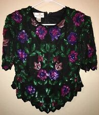 Laurence Kazar top blouse Floral sequin Beaded Bling womens size PXL