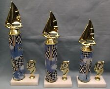 cub scout regatta sailboat trophy awards set of 3  racing cloud marble base
