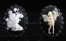 Set of 2 Antiqued Silver Plated Resin Fairy Cameo Finger Rings