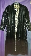 Vtg Wippette Shiny Black PVC Vinyl Raincoat Long Rain Jacket Slicker Trench Coat