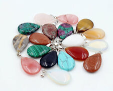 12pcs Wholesale Fashion Mixed Natural Stone Water Drop Pendants Charms Teardrop