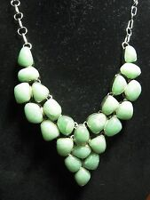 Large Bib Necklace Stamped 925 Silver Light Green Aventurine 23 cabochons 21""