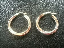 14k Gold Hoop Earrings Tri Color Yellow White Rose Trinity 3.9g 1 Inch