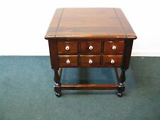 Ethan Allen Antiqued Pine Square Table With Drawers