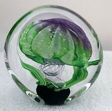 Kahl Glass Studio Blown Glass Signed Green and Purple Jellyfish Paperweight