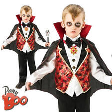 Dracula Age 7-8 Boys Fancy Dress Kids Vampire Child Halloween Party Costume New