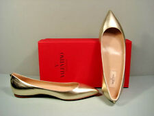 VALENTINO PALE GOLD ROCKSTUD METALLIC  LEATHER POINT TOE FLATS SHOES 38.5 NEW