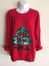Vintage Ugly Christmas Knit Sweater Lindsey Blake Tree Presents Sequins MEDIUM