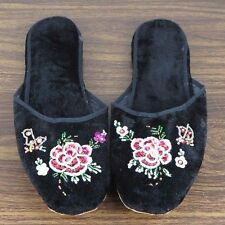 Pair of Embroidered Chinese Women Floral Velvet Slippers in Black Size 42 New