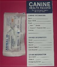 Canine Dog Health Record + ISO Microchip - puppy, vaccination, ID, shot, deworm