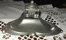 "Vintage INKWELL by T.B. Tin ~ hammered tin 5 3/4"" long by 4 1/2"" deep by 2/12"" T"
