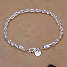 cute nice Silver Fashion 4MM Rope chain women men party Bracelet jewelry hot new