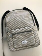 Fossil Women's Grey White Stripe Ella Canvas Campus Bag Backpack ZB6839020 NWT