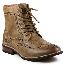 Metrocharm Men's Lace Up Perforated Wing Tip Formal Dress Military Casual Boots