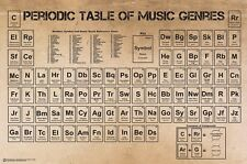 MUSIC POSTER ~ PERIODIC TABLE OF GENRES 24x36 Rock Country Classical Metal Rap